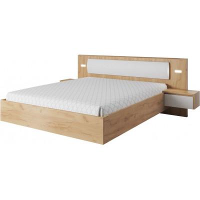 Łóżko ze stolikami nocnymi i oświetleniem XELO